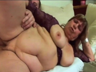 brunette granny masturbates and gets pussy pounde